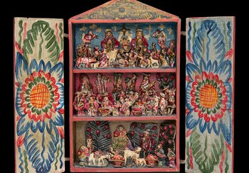 Retablo from Ayacucho, circa 1950, wood, paste, starch flour, gypsum, painted, loan from Paul Laternser | © Swiss National Museum