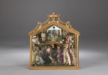 Nativity scene in case with wax figures, Hermetschwil Convent (Lucerne), 18th century, wax, silk, wood Loan from the Chorherrenstift St. Michael Beromünster | © Swiss National Museum