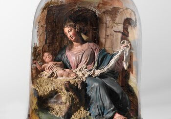 Mary with the Infant Jesus, Ildefons Curiger (1782-1841), ca. 1810/20, Einsiedeln (Canton of Schwyz), fired clay, original setting, painted bell jar  Loan from Einsiedeln Abbey, art collection | © Swiss National Museum